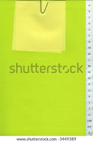 Phone book - A to Z - with a Yellow Post-it - stock photo