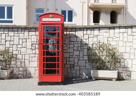 Phone booth. Typical British telephone booth at the street. - stock photo