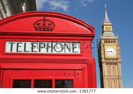 Phone box and Big Ben, London - stock photo