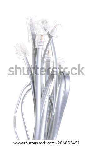 Phone cables with plugs isolated on white background - stock photo