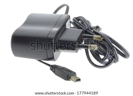Phone charger isolated on white background. - stock photo