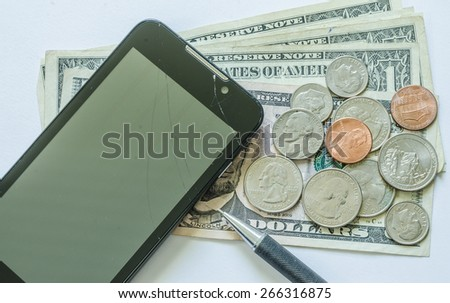 phone crack broken loose money control and save concept - stock photo