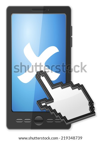 Phone, cursor and cancel symbol on a white background. - stock photo