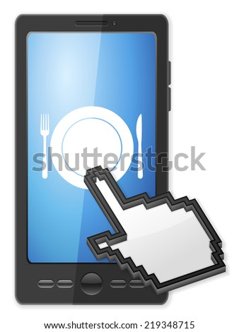 Phone, cursor and cutlery symbol on a white background. - stock photo