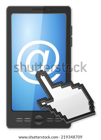 Phone, cursor and email symbol on a white background. - stock photo