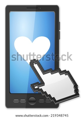 Phone, cursor and heart symbol on a white background. - stock photo