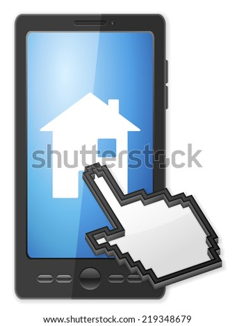 Phone, cursor and house symbol on a white background. - stock photo