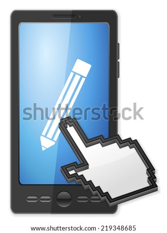 Phone, cursor and pencil symbol on a white background. - stock photo