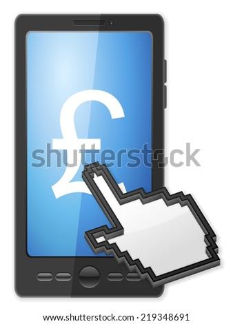 Phone, cursor and pound symbol on a white background. - stock photo