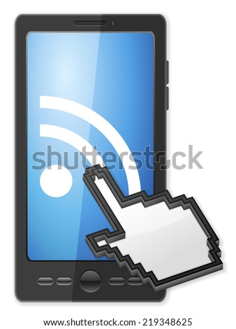 Phone, cursor and RSS symbol on a white background. - stock photo