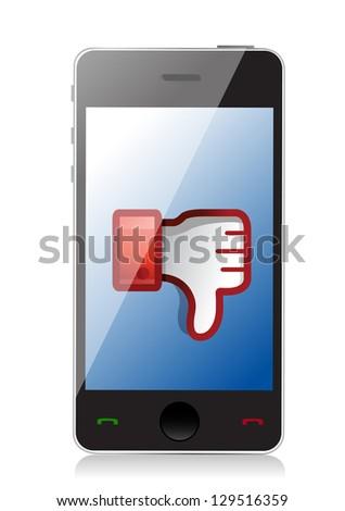 phone Dislike Icon. Thumb down Sign illustration design - stock photo