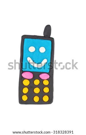 Phone from children bright plasticine - Stock Image macro. - stock photo