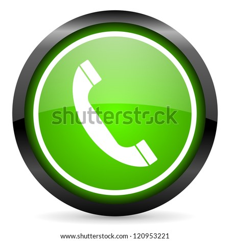 phone green glossy icon on white background - stock photo