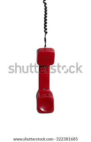 phone hanging isolated on white - stock photo