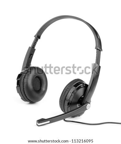 Phone headset isolated on white - stock photo