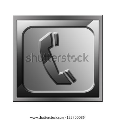 phone icon black, isolated on white background. - stock photo
