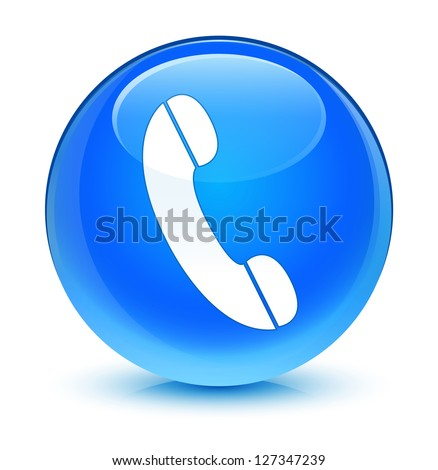 Phone icon glassy blue button - stock photo