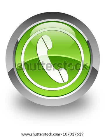 Phone icon on glossy green round button - stock photo