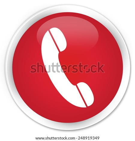 Phone icon red glossy round button - stock photo