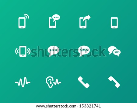 Phone icons on green background. See also vector version. - stock photo