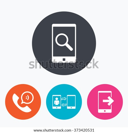 Phone icons. Smartphone with speech bubble sign. Call center support symbol. Synchronization symbol. Circle flat buttons with icon.