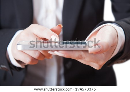 phone in female hands, isolated white background