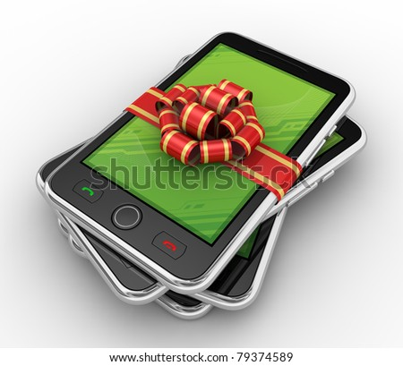 Phone in gift on white background. Isolated 3D image