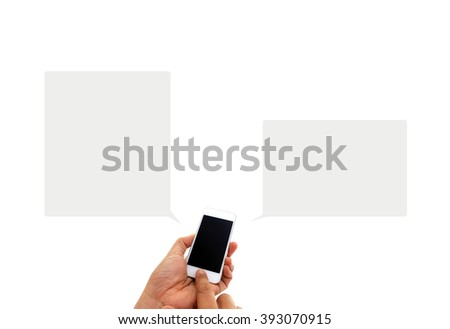 Phone in hand - to work on a smartphone with opening speech - stock photo