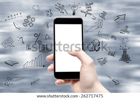 phone in the hand with a blank screen and drawings of a business around