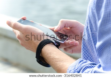 phone in the man hand