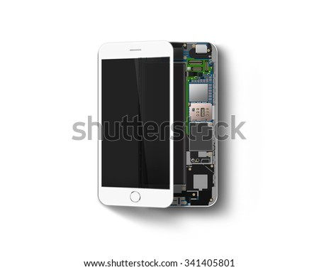 Phone inside isolated, chip, motherboard, processor, cpu and details. Smartphone component spec. Cellphone sheme constitution. Telephone pcb, rom data. Broken device mending. Motherboard disassembled. - stock photo