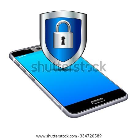 Phone Lock Unlock Secure Cell Smart Mobile - Raster Version - stock photo