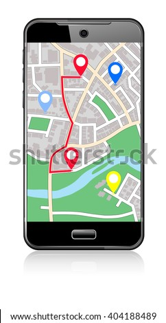 Phone Map -  Pointer Icon Cell Smart Mobile - Raster Version - stock photo