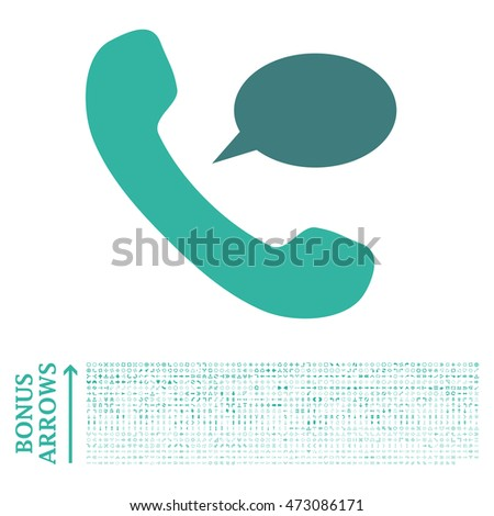 Phone Message icon with 1200 bonus arrow and navigation pictograms. Glyph illustration style is flat iconic bicolor symbols, cobalt and cyan colors, white background.