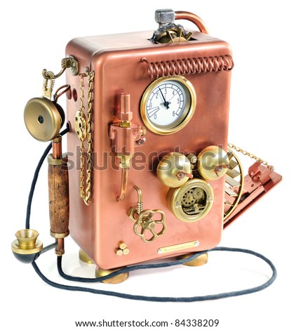 Phone on a white background. Style Steam-punk. - stock photo