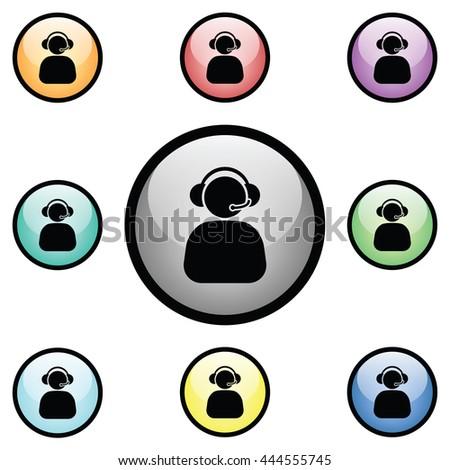 Phone Operator Icon Glass Button Icon Set.  Raster Version - stock photo