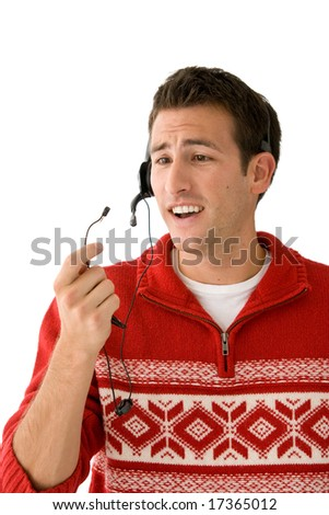 Phone operator loses a call. - stock photo