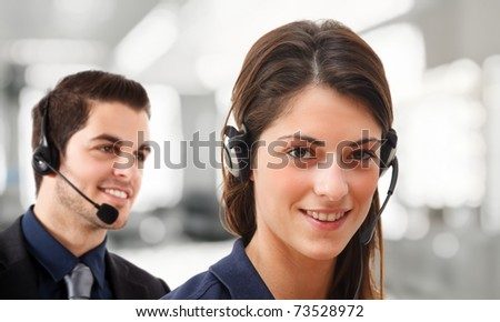 Phone operators talking with customers