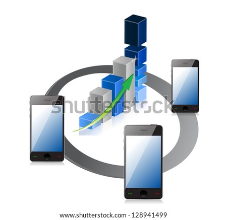 phone or cell with business or profits growth bar graph illustration design
