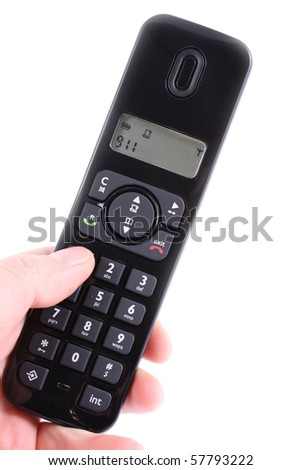 Phone receiver in a hand typing 911 on a white background - stock photo