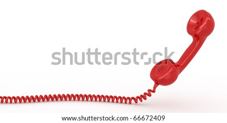 Phone reciever on white isolated background. 3d