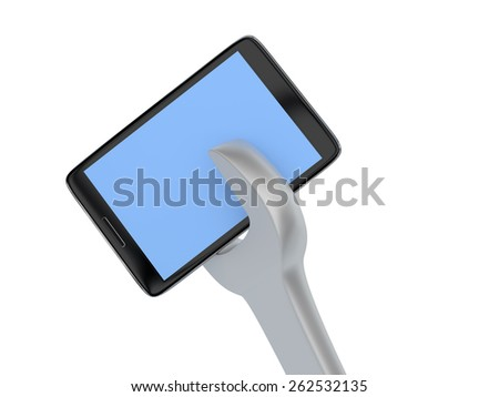 Phone repair services concept . Isolated 3D image - stock photo