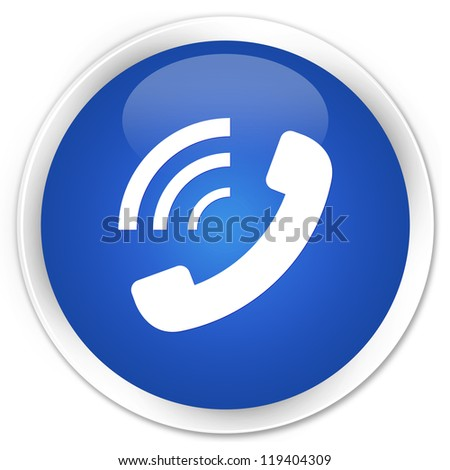 Phone ringing icon blue button - stock photo