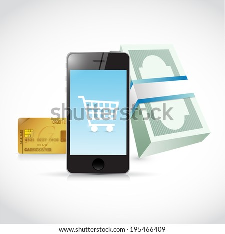 phone shopping concept illustration design over a white background - stock photo
