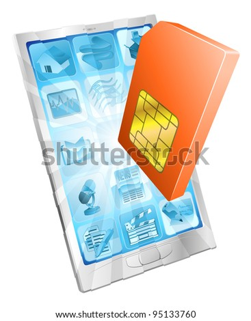 Phone SIM card icon coming out of screen concept - stock photo