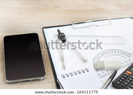 phone smartphone drawing tools project concept home building - stock photo
