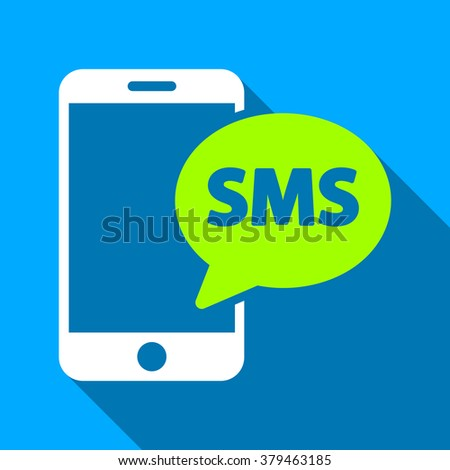 Phone SMS long shadow raster icon. Style is a flat light symbol with rounded angles on a blue square background. - stock photo