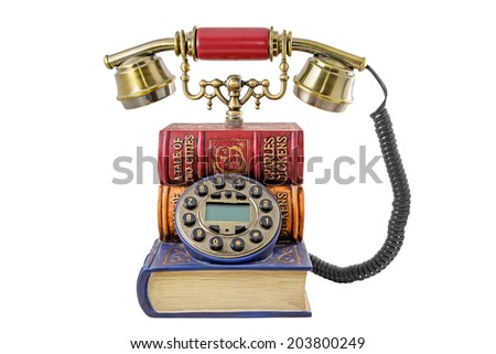 Phone stylized under a pile of books on the white background - stock photo