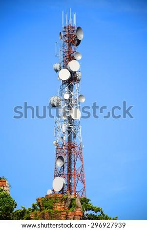Phone transmission towers. - stock photo