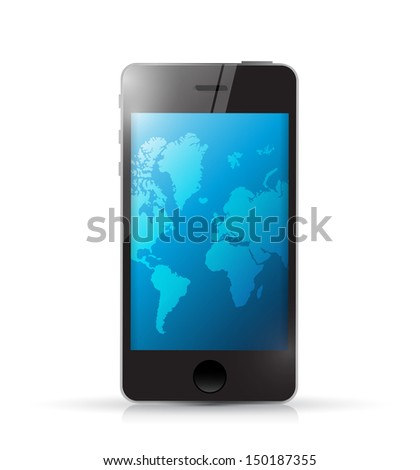 phone with a world map. illustration design over white